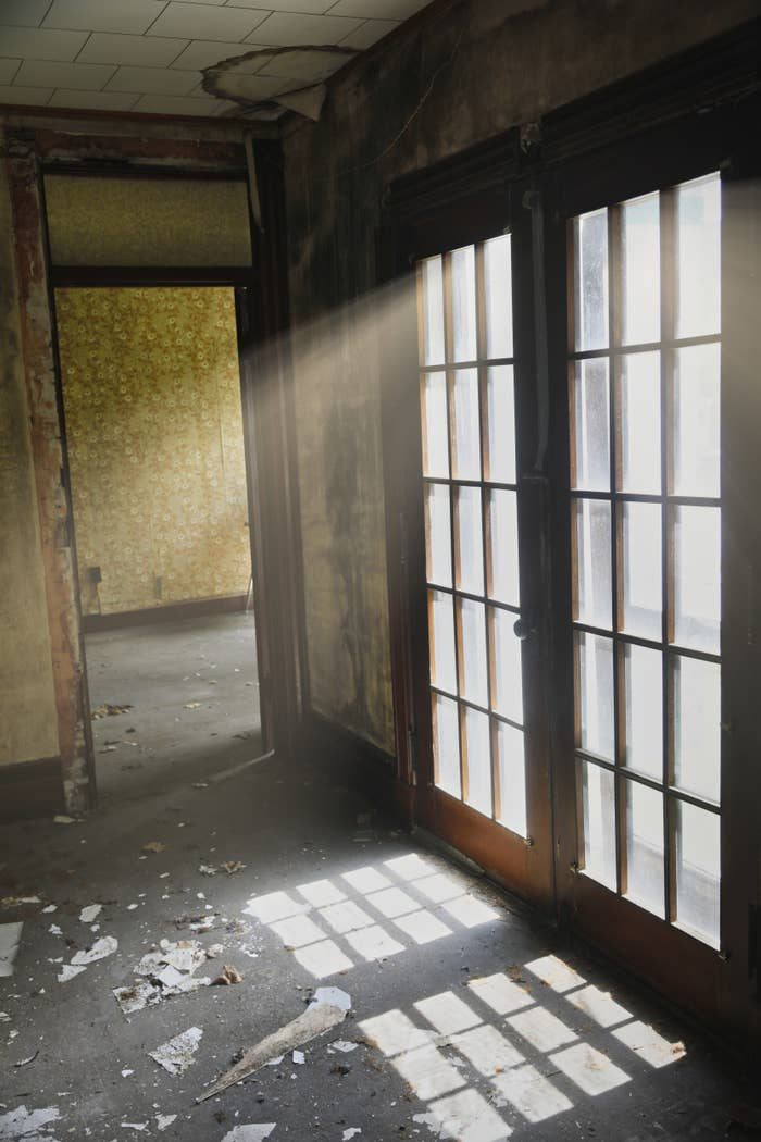 """Photo of an abandoned hotel in Stamford, New York which the photographer entitled """"Bright White Light"""" as the light is radiating through the window panes of the doors."""