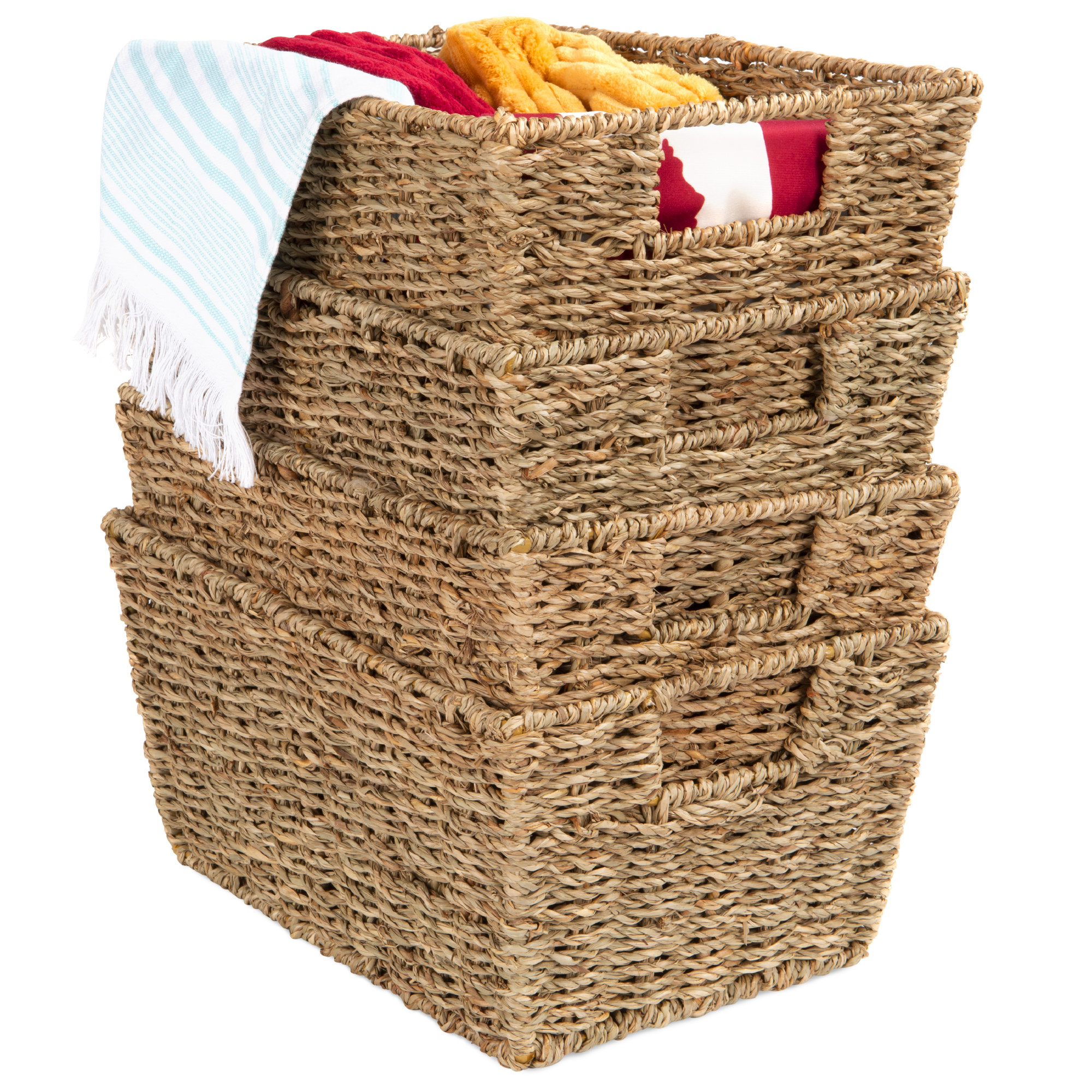 Stackable seagrass baskets