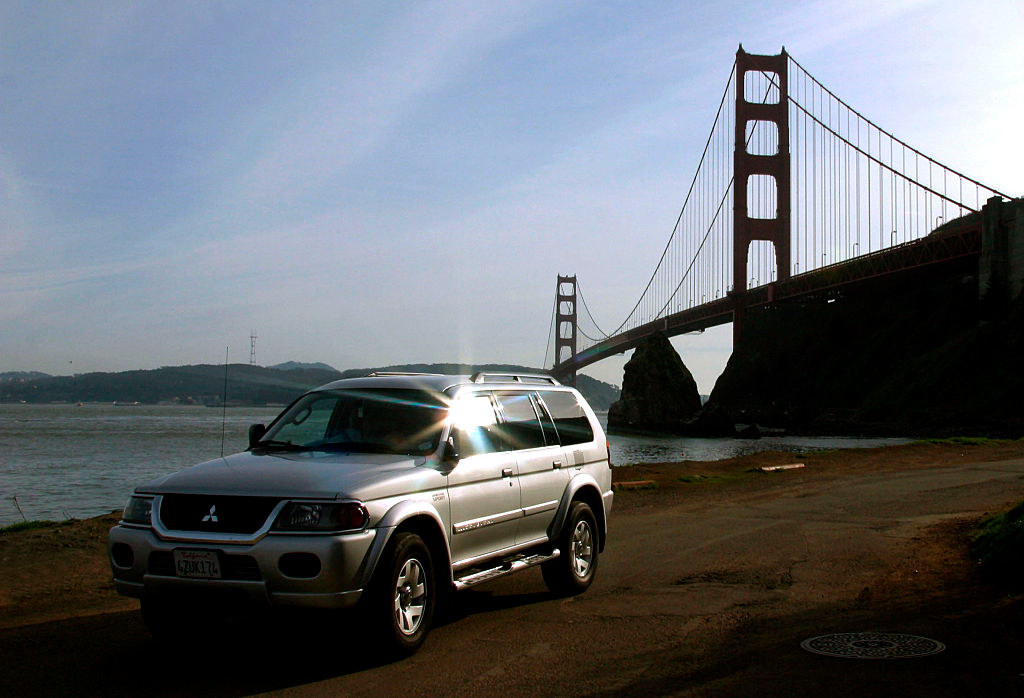 The Mitsubishi Montero parked with the Gold Gate Bridge in the background