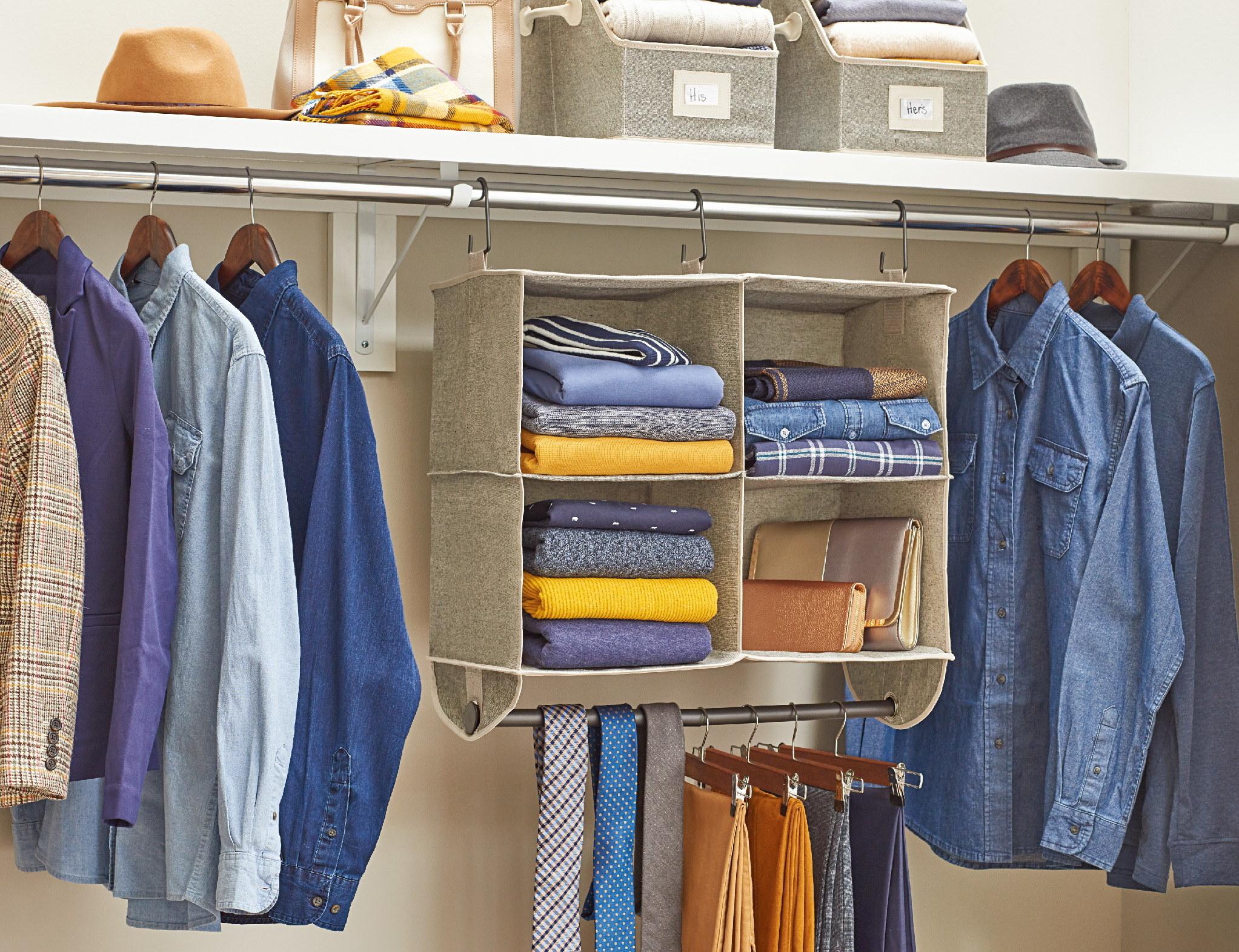 Four shelf hanging closet organizer