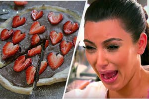 A strawberry and chocolate dessert pizza is on the left with Kim Kardashian screaming on the right