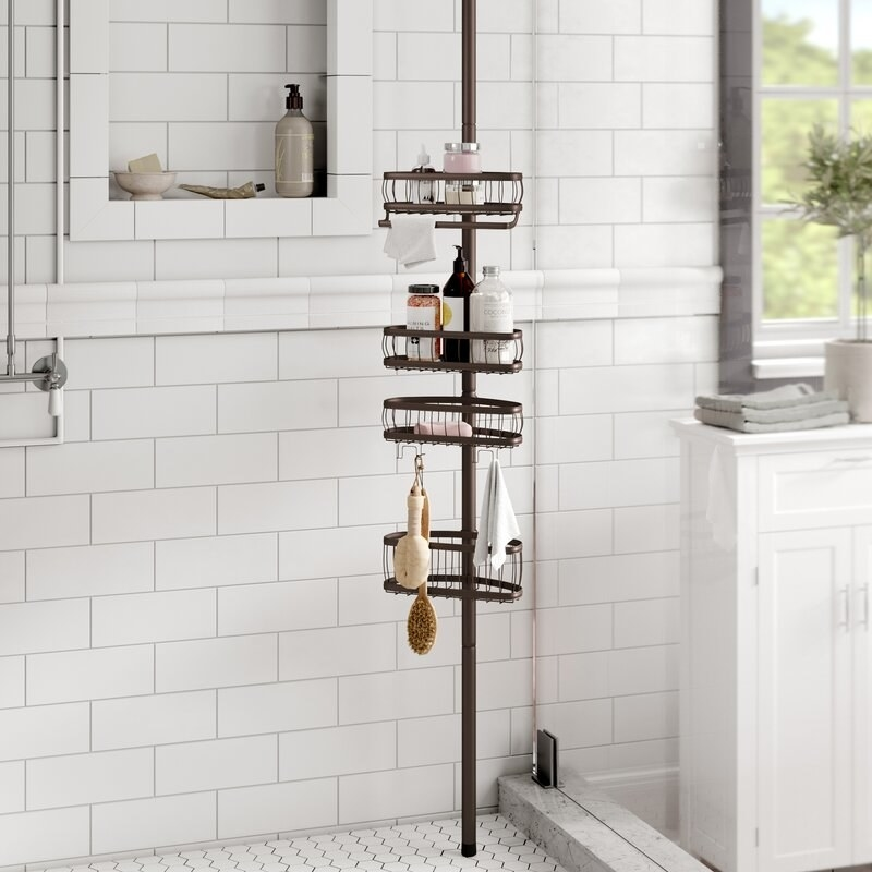 Shower caddy placed in shower.