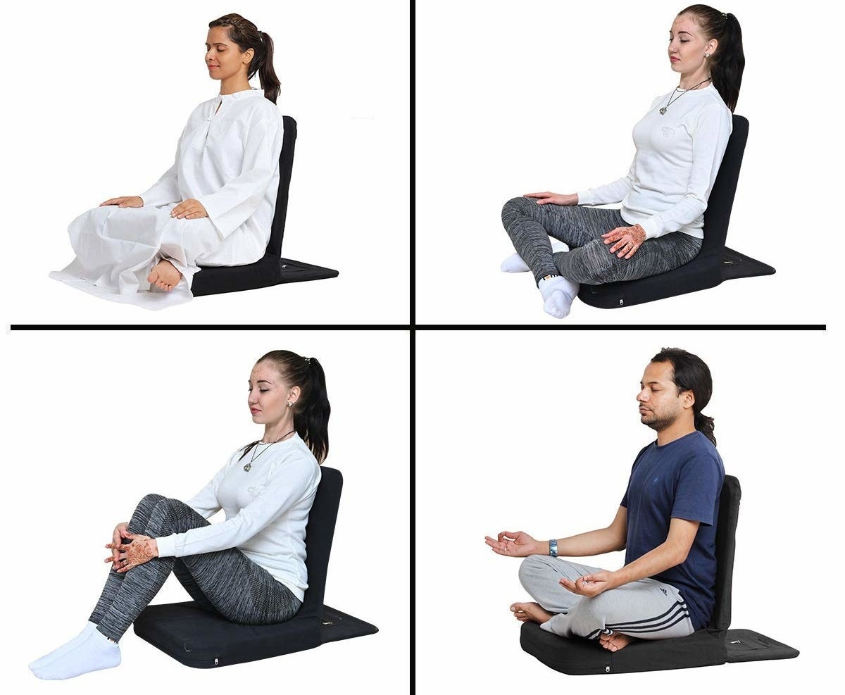 Various people sitting in different yoga poses on the chair.