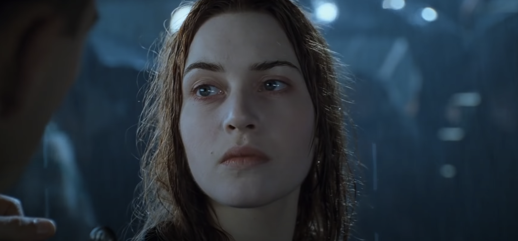 Rose at the end of the movie with wet hair, exhausted