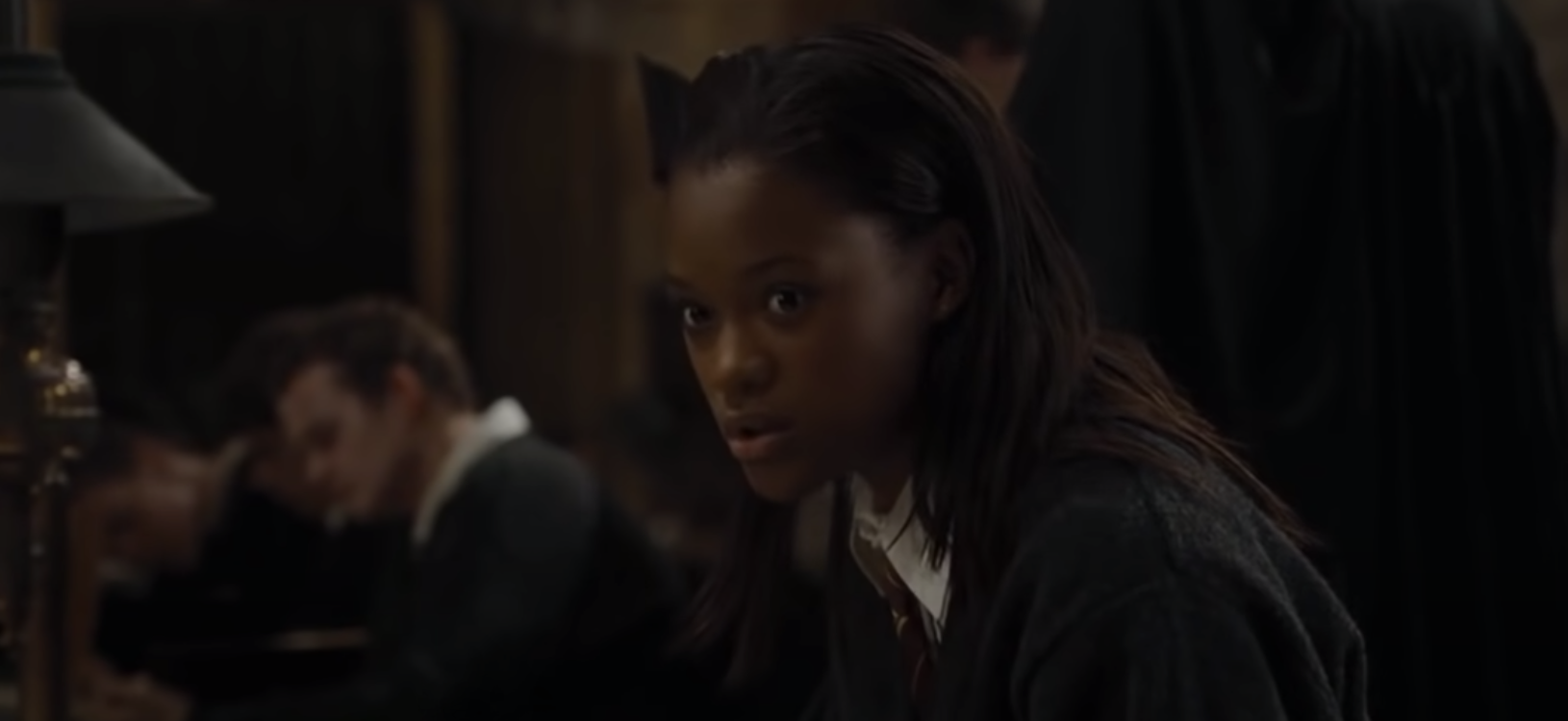 Angelina reacting to Fred in the great hall