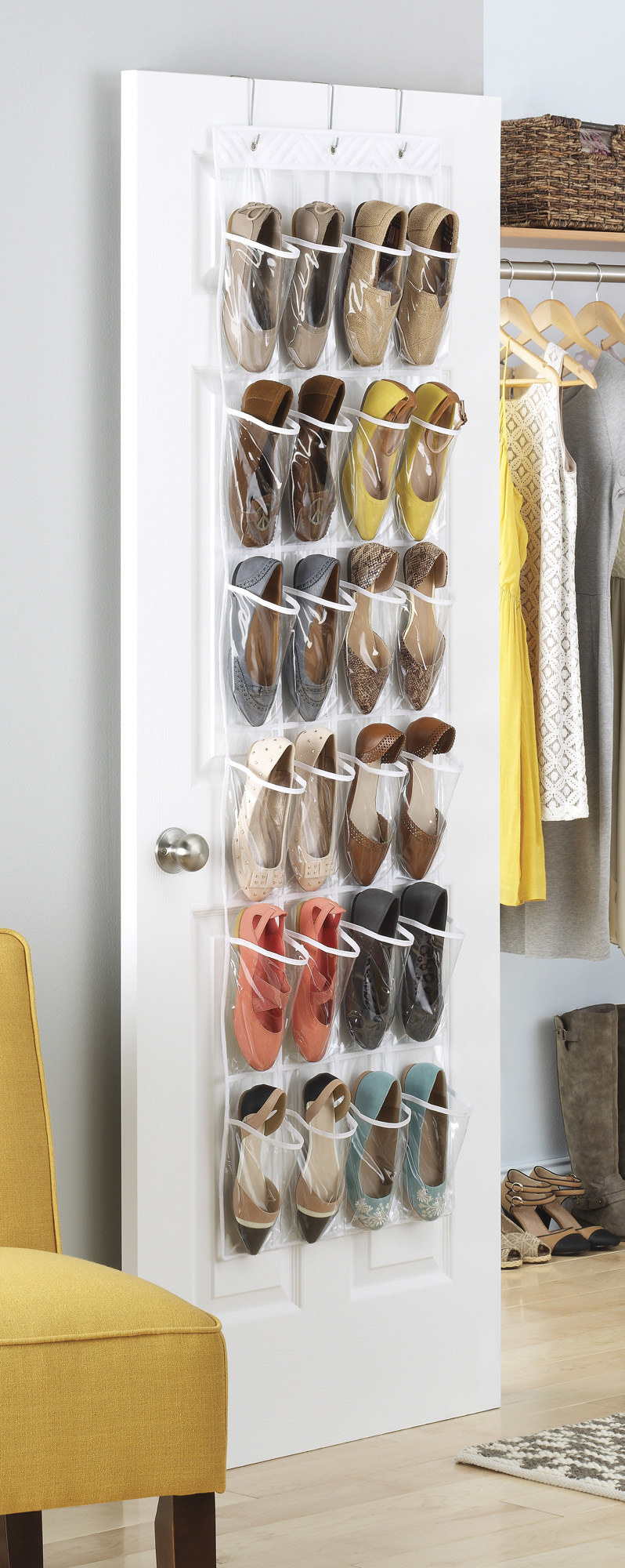 Over the door shoe organizer with clear pockets