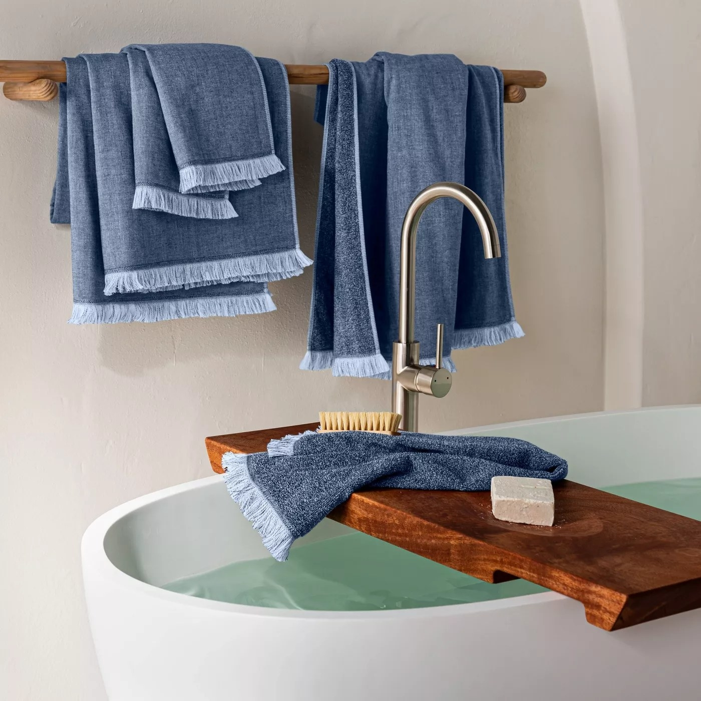 The towels in blue