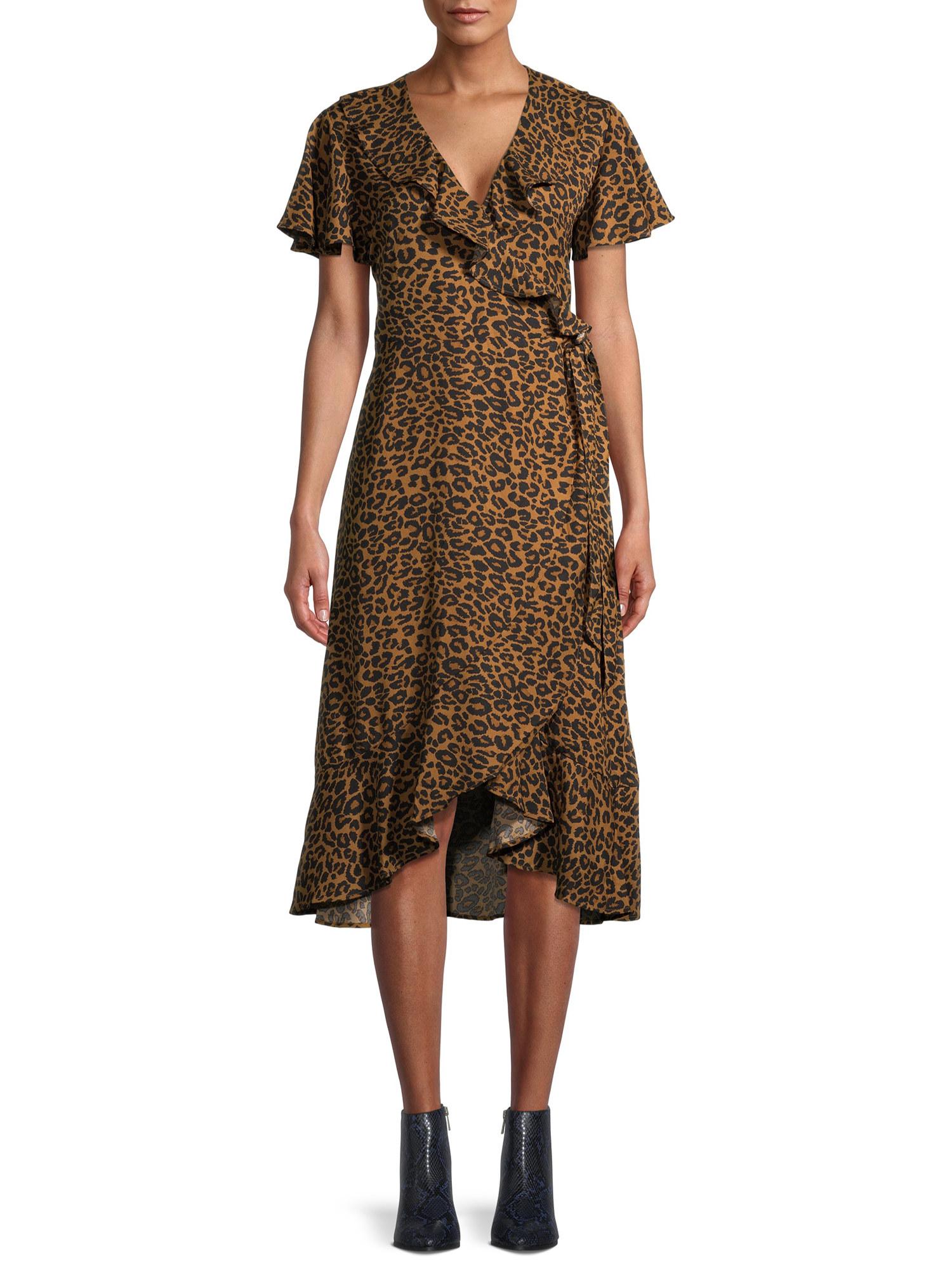 Model wearing animal print dress