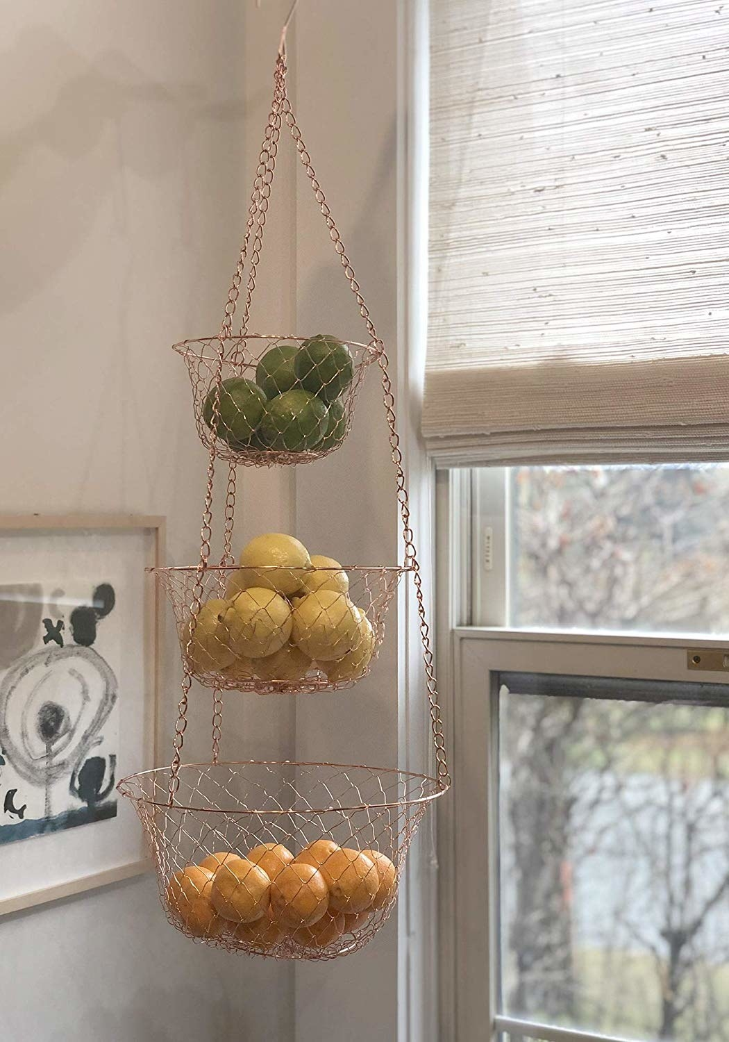 Copper three tier hanging fruit baskets