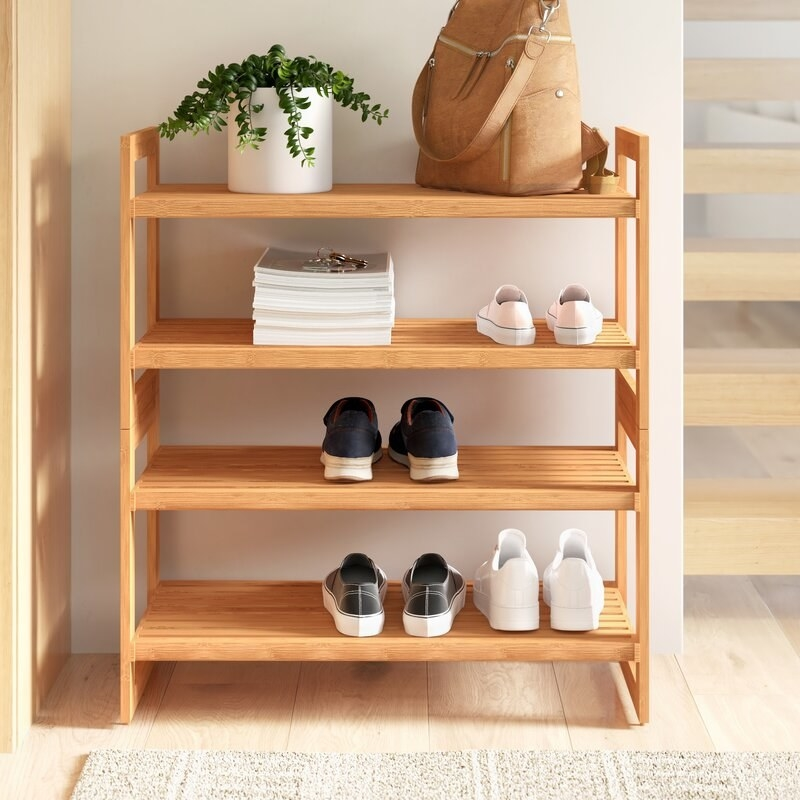 light wooden shoe rack with four levels
