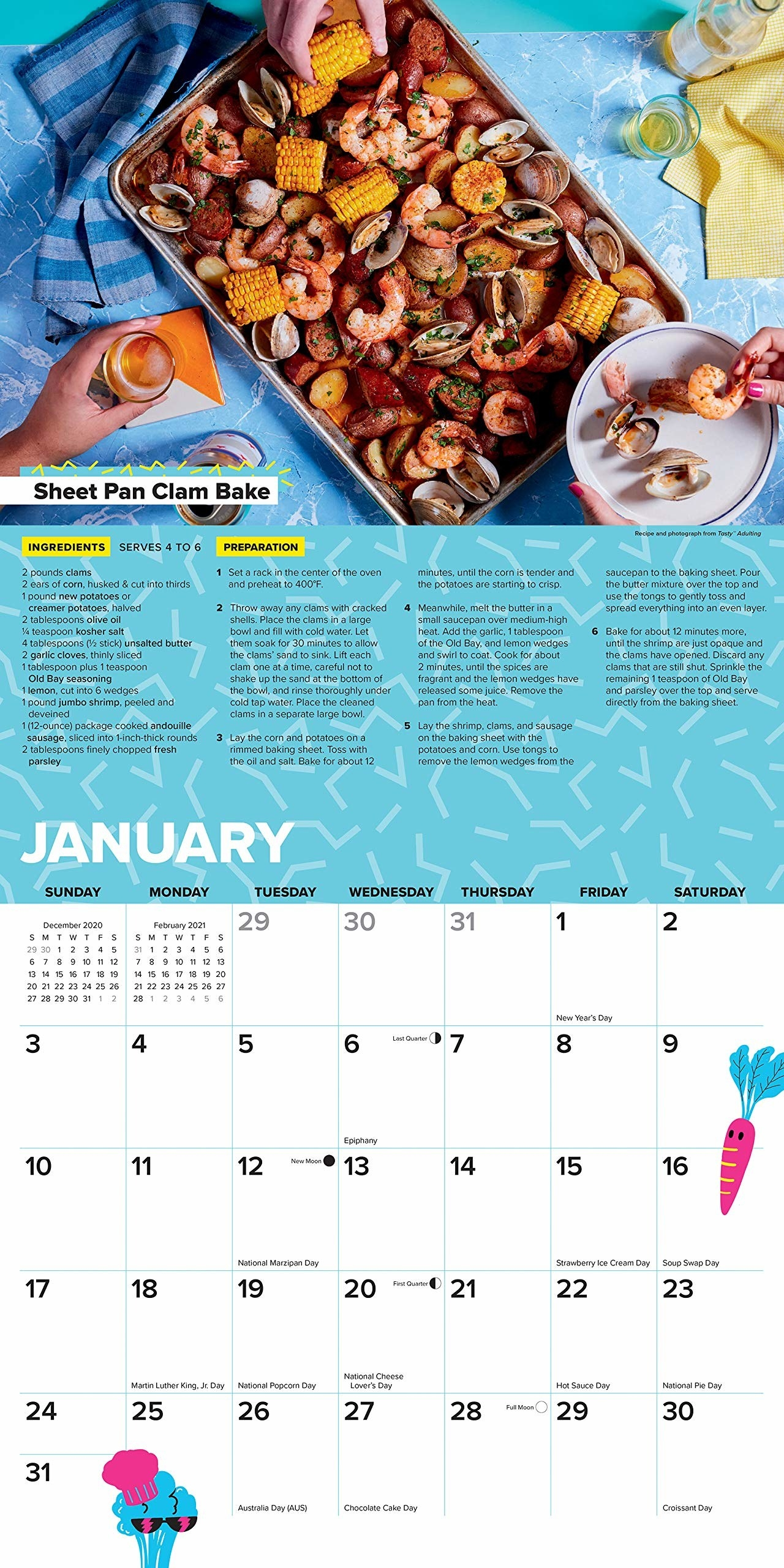 view of open month in the calendar with a sheet pan clam bake recipe on it