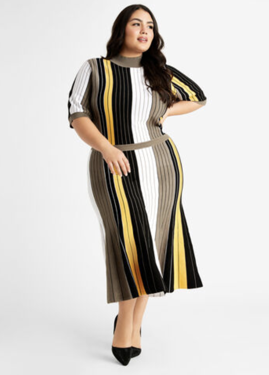 mid-calf length short-sleeve sweater dress with grey, black, and yellow vertical stripes
