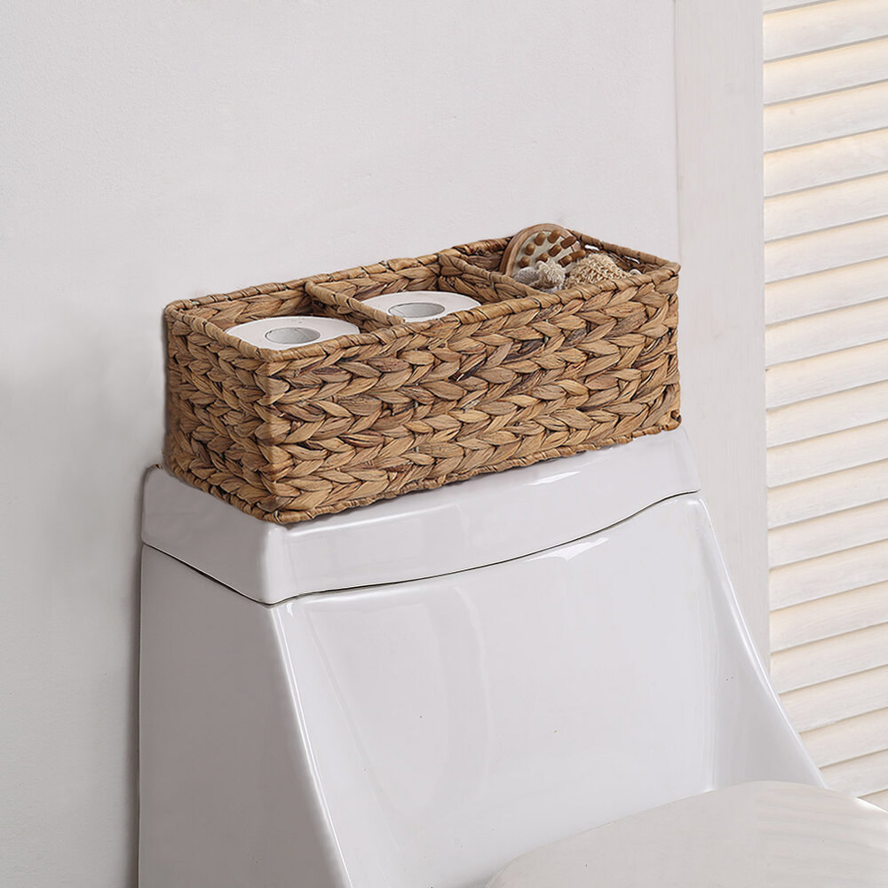 Woven three compartment basked on top of toilet tank