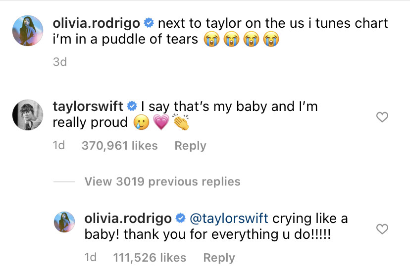 "Taylor Swift responding saying, ""I say that's my baby and I'm really proud"" and Olivia replying, ""Crying like a baby! Thank you for everything you do"""