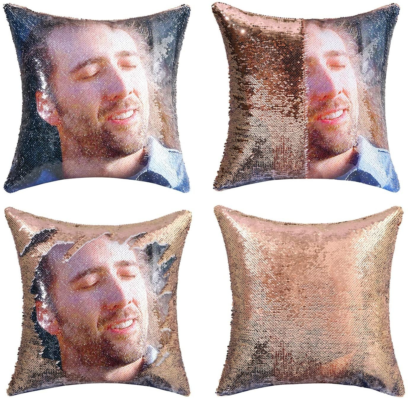 gold sequin pillow cover that when is stroked reveals a pic of Nic Cage in Conair
