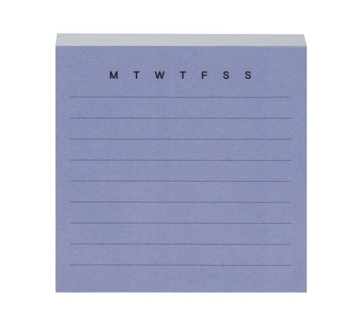 The purple pad of lined notes with MTWTFSS at the top so you can circle the day