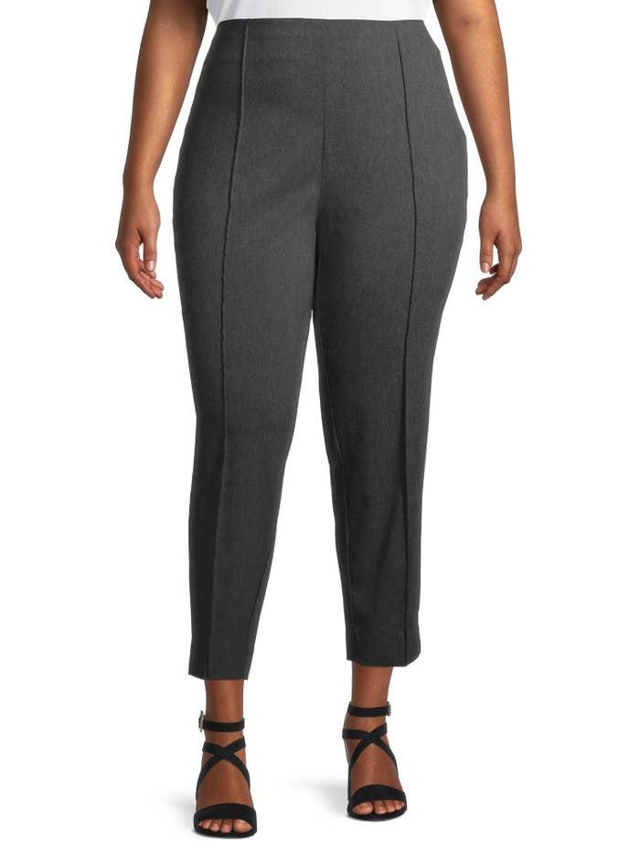 Model wearing grey slim work pants