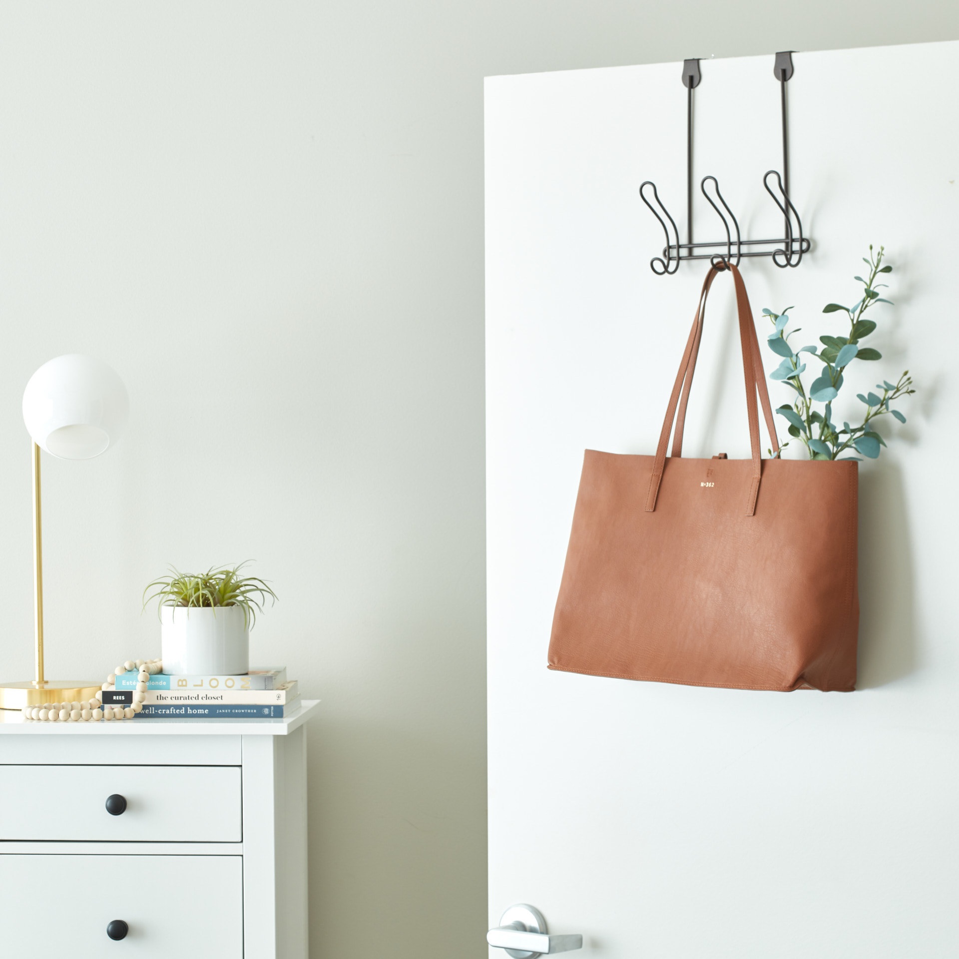 Over the door hooks with purse