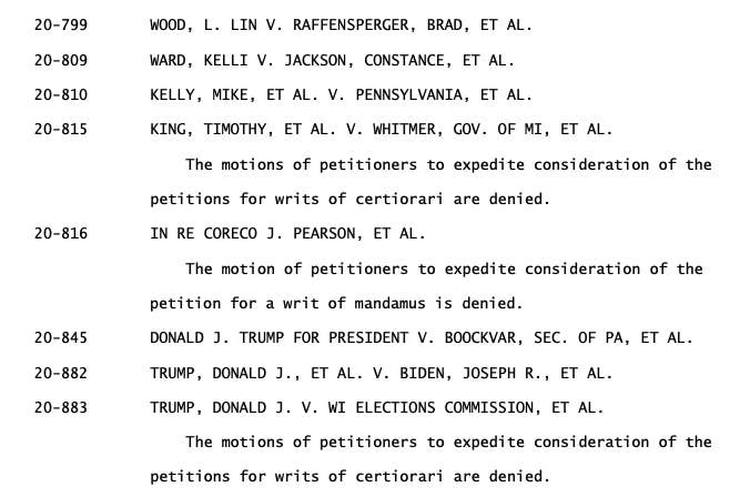 Text of US Supreme Court orders denying motions to expedite election challenges filed by Trump and his supporters