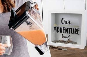 blender and piggy bank adventure fund