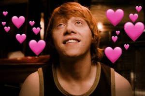 Ron dreamily thinking above love