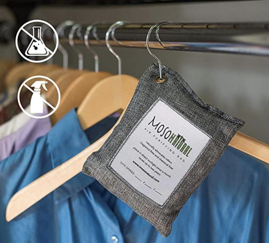 odor absorbing bag hanging in closet