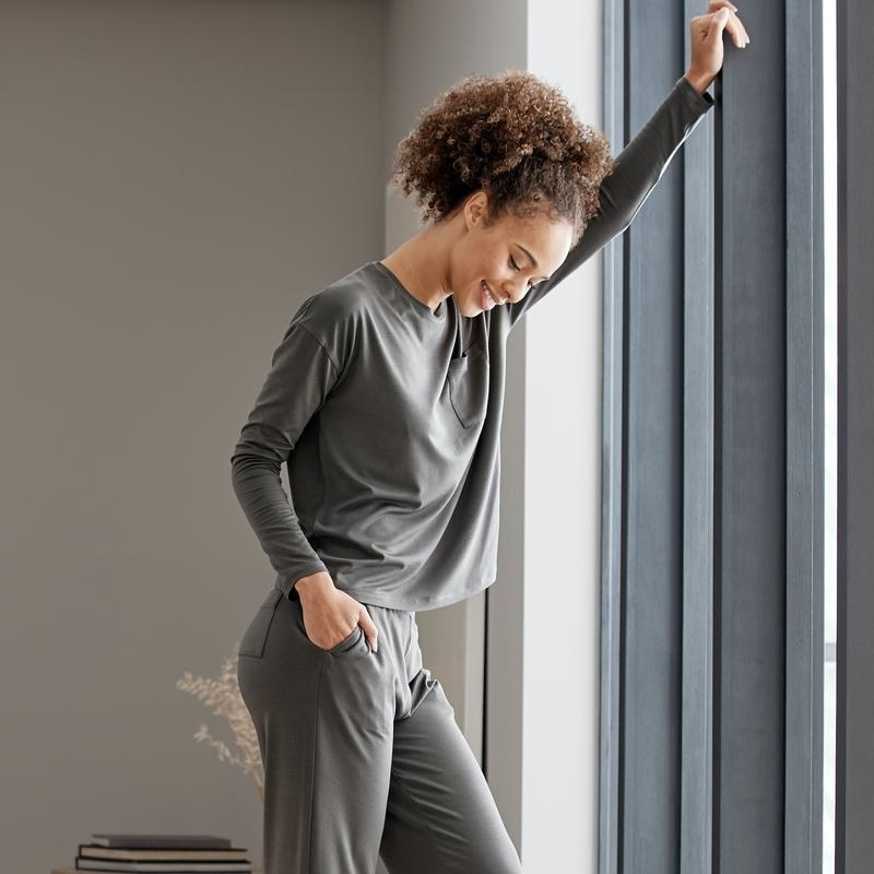 High waisted lounge pants with long sleeve crew neck shirt in matching materials