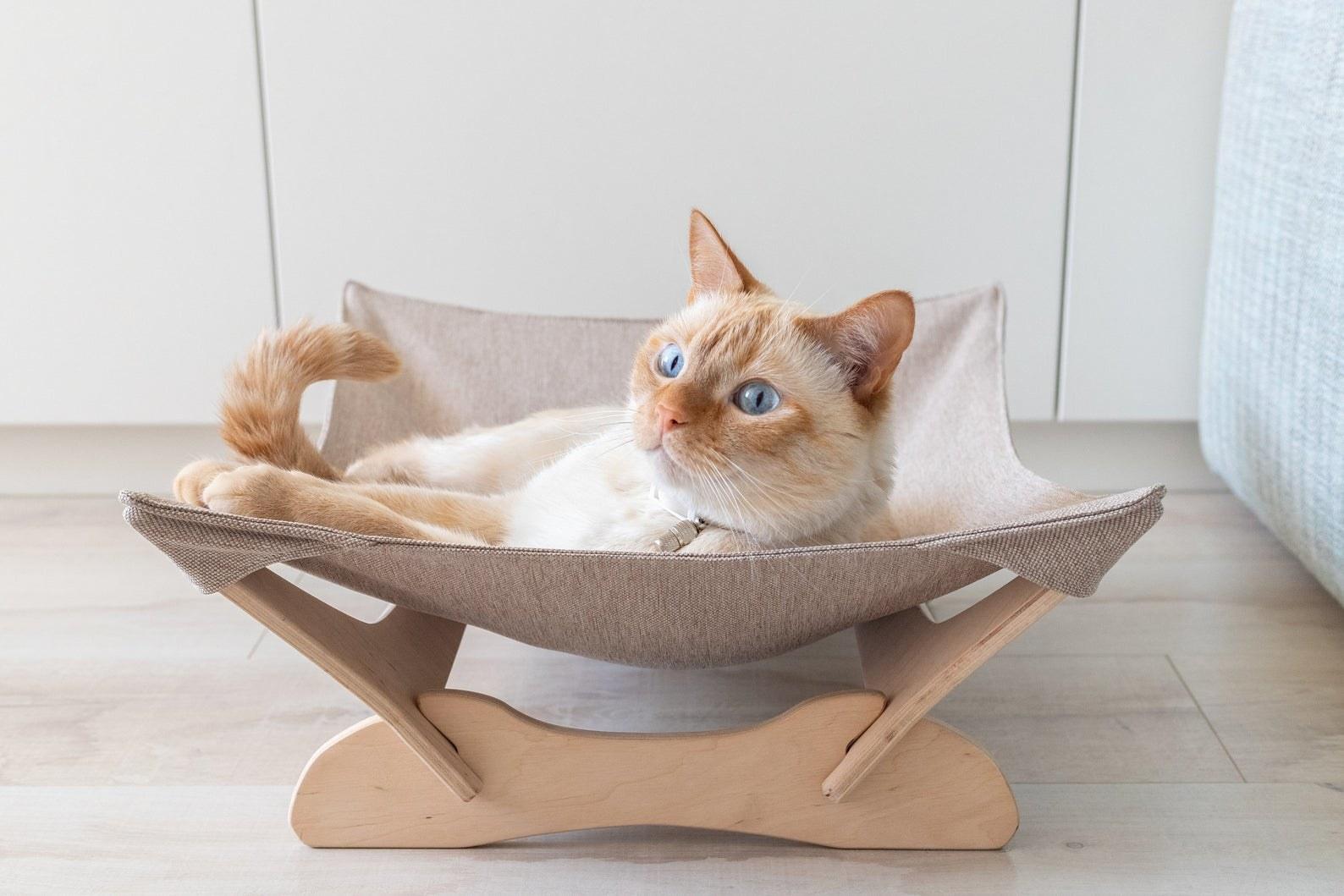 The cat hammock in tan