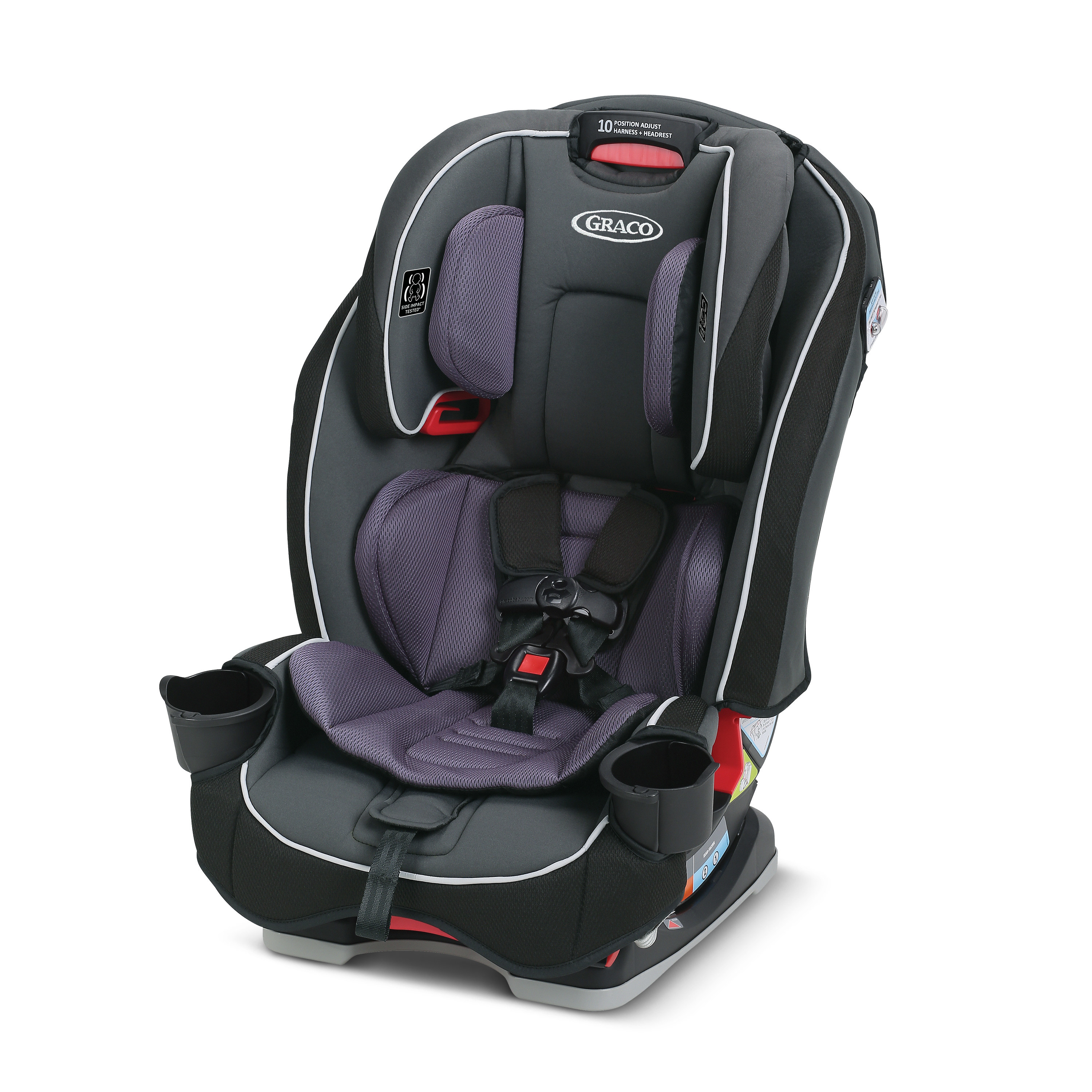 The black and purple car seat.