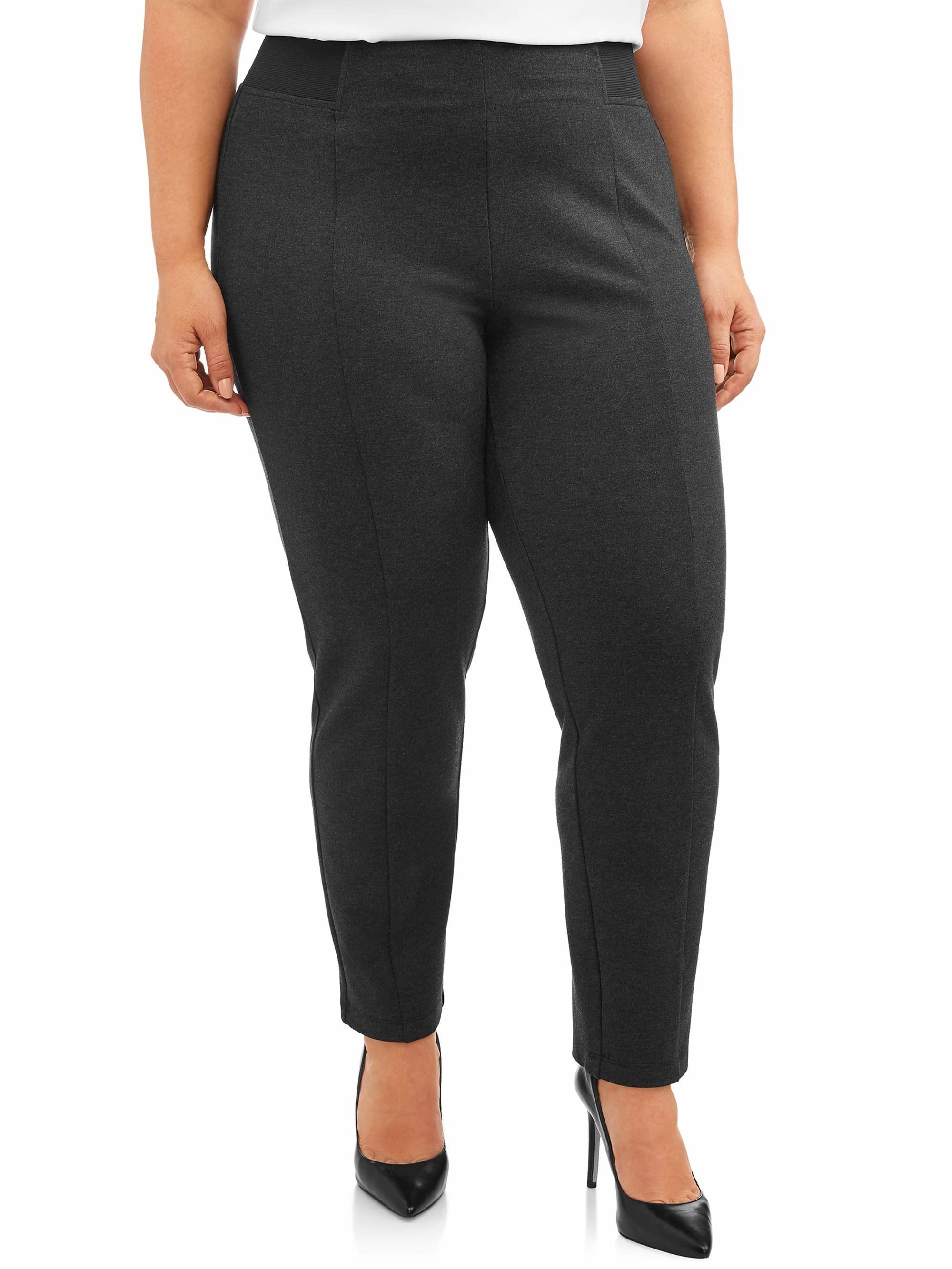 Model wearing grey pants