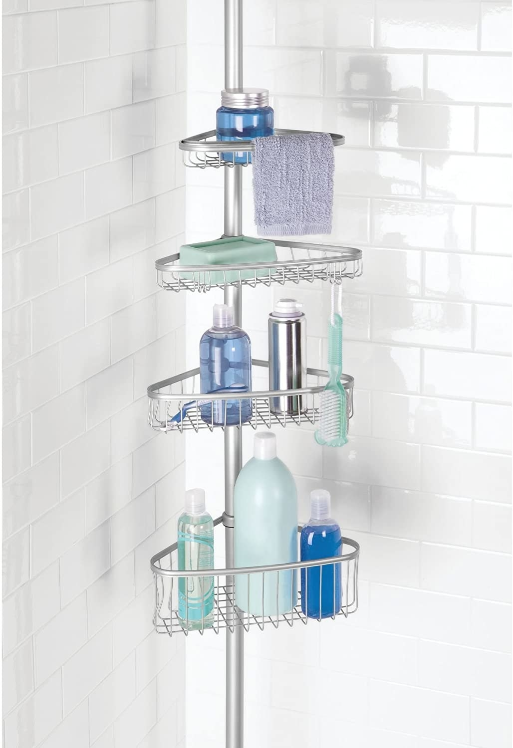 The wire corner shower shelf holds shampoo bottles and other shower products