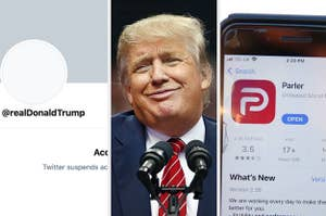 Trump's banned Twitter account, an image of Trump, and the app Parler in the app store