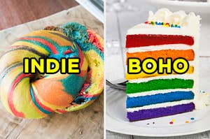"On the left, a bagel labeled ""indie,"" and on the right, a slice of 6-layer cake labeled ""boho"""