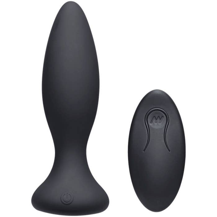 The black vibrator with a narrower tip and a matching remote