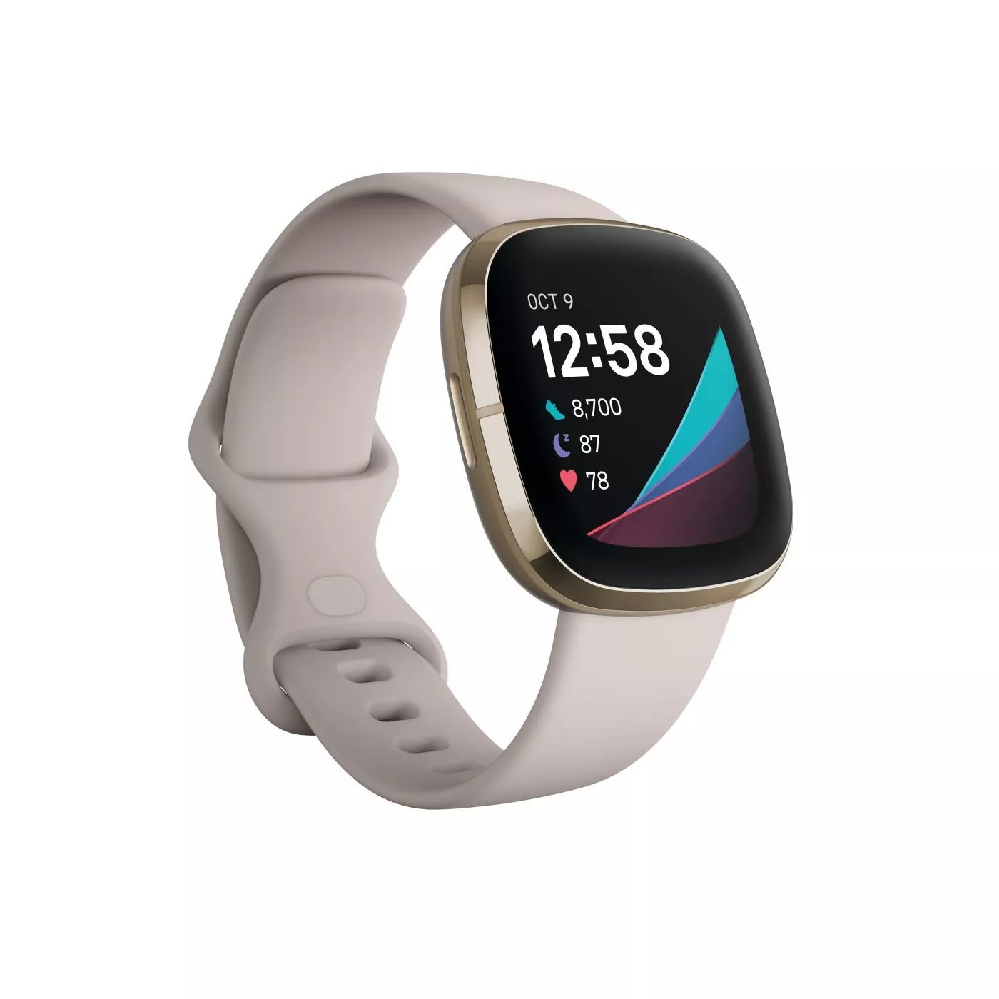 The smartwatch in gold and white