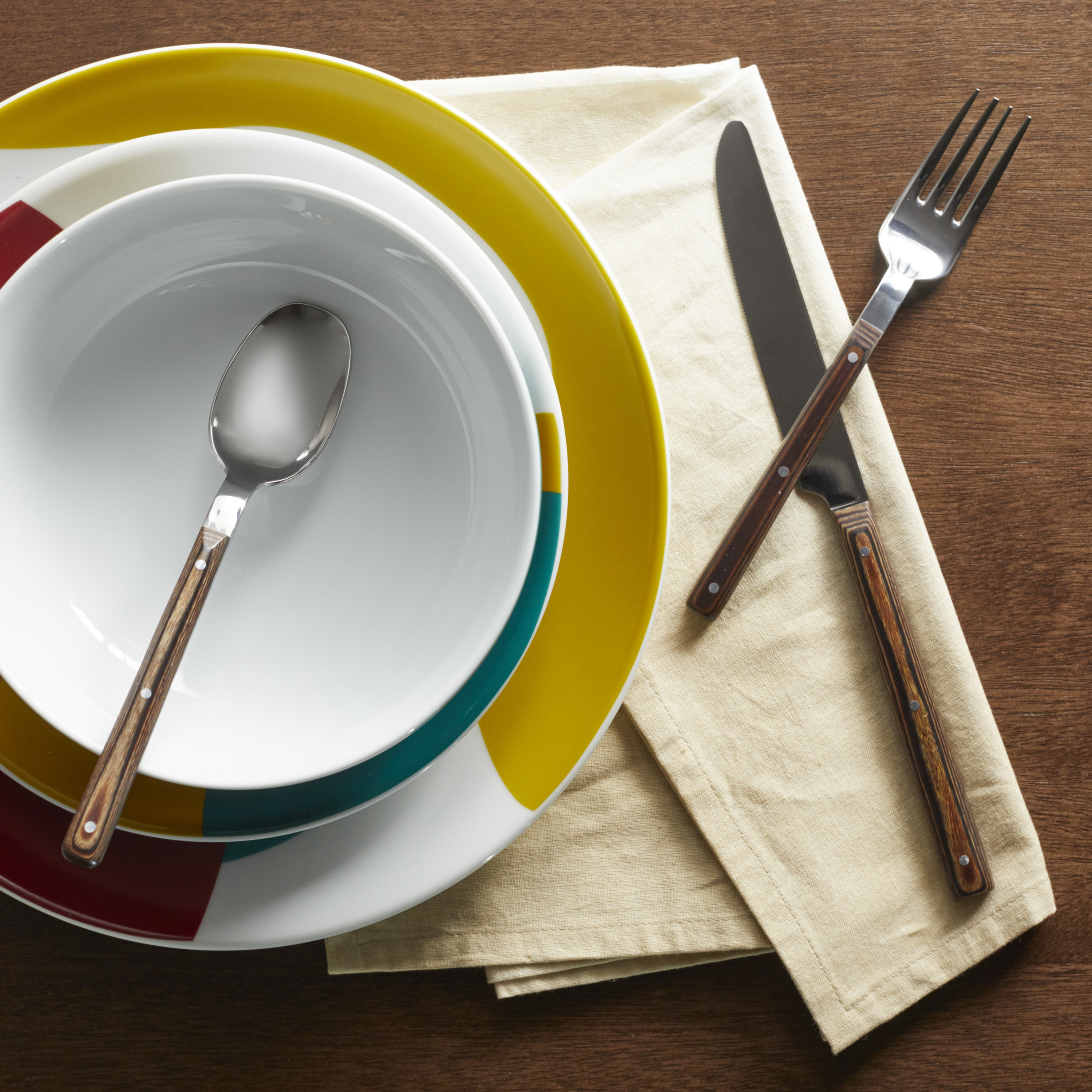 The flatware set on a place setting