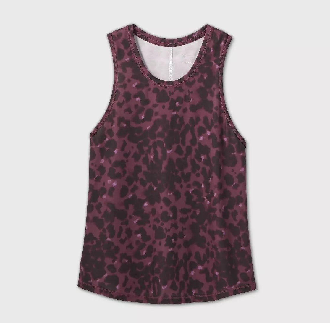 The purple and black leopard print tank top