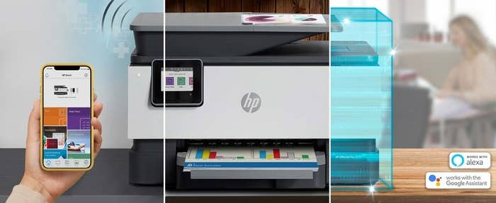 Graphic of phone connected to printer, the printer printing, and an illustration of the inside of the printer showing that it connects with Amazon Alexa