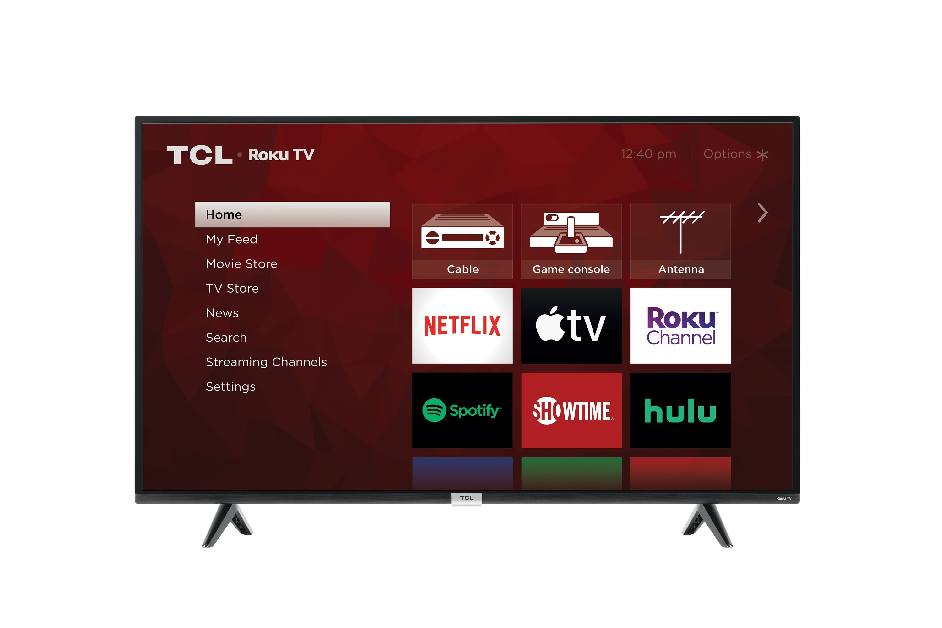 The TV with a red home screen