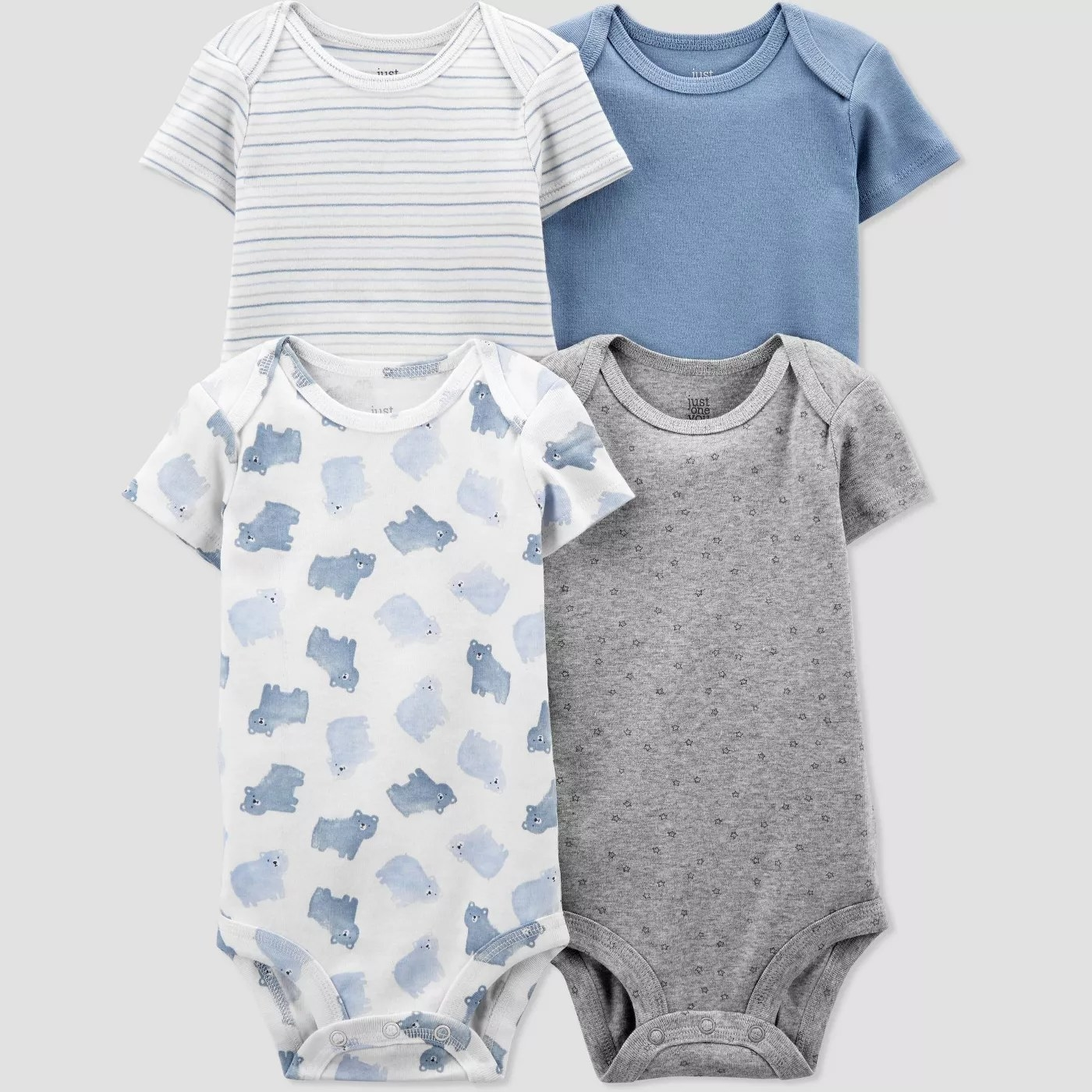 The gray, blue, striped, and bear-patterned bodysuits