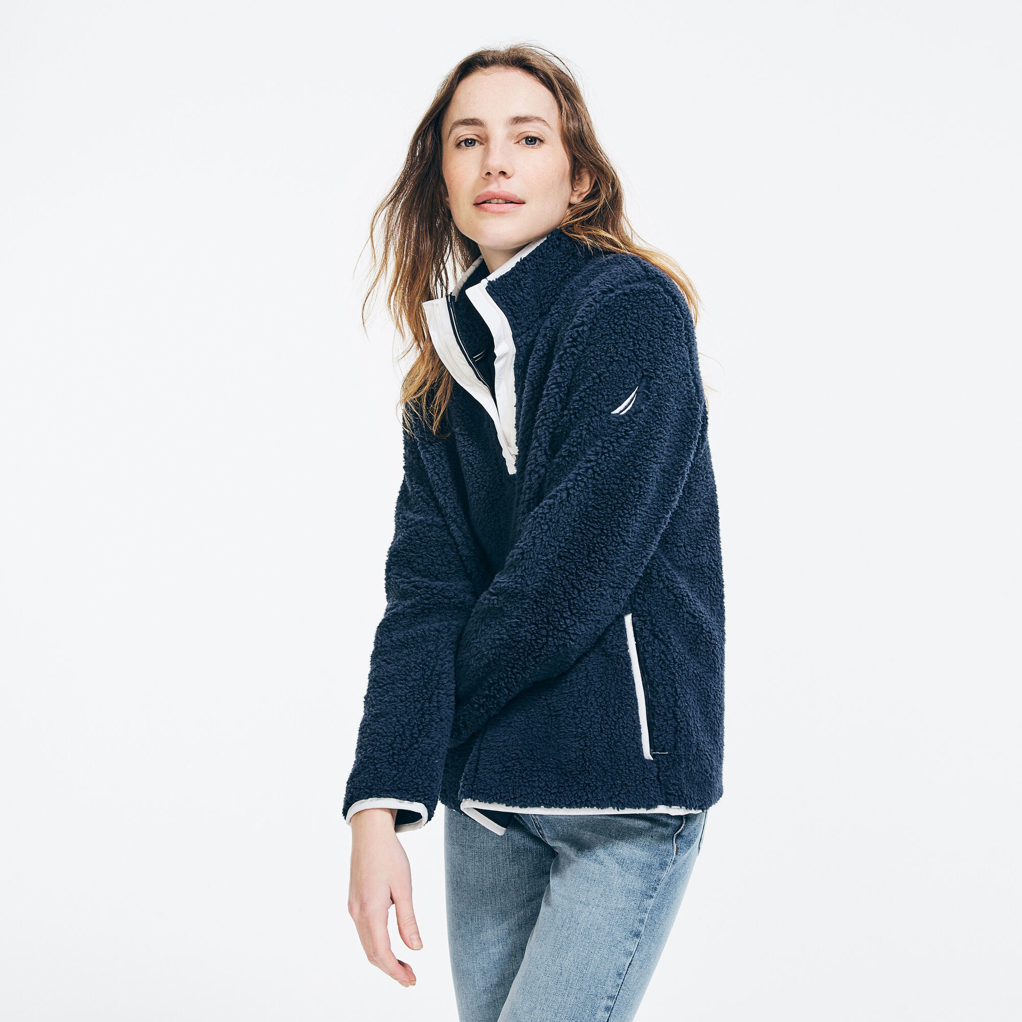 navy sherpa fleece with white line embellishments