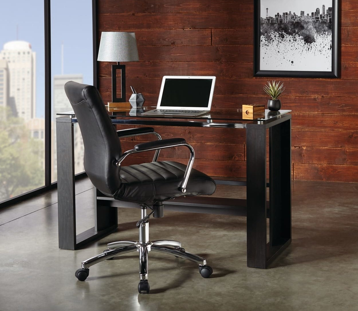 a black supportive office chair on wheels