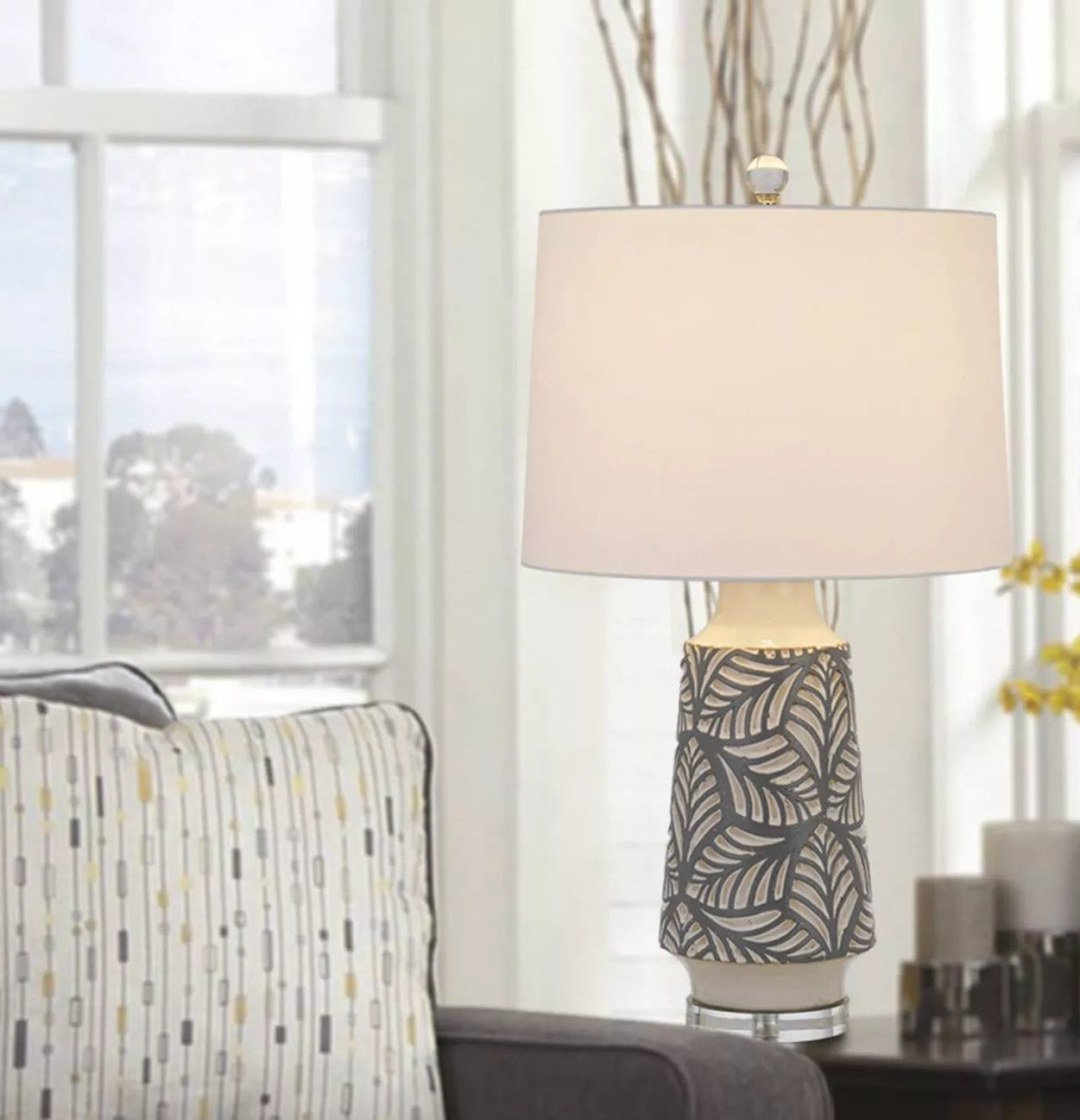 The gray and white table lamp