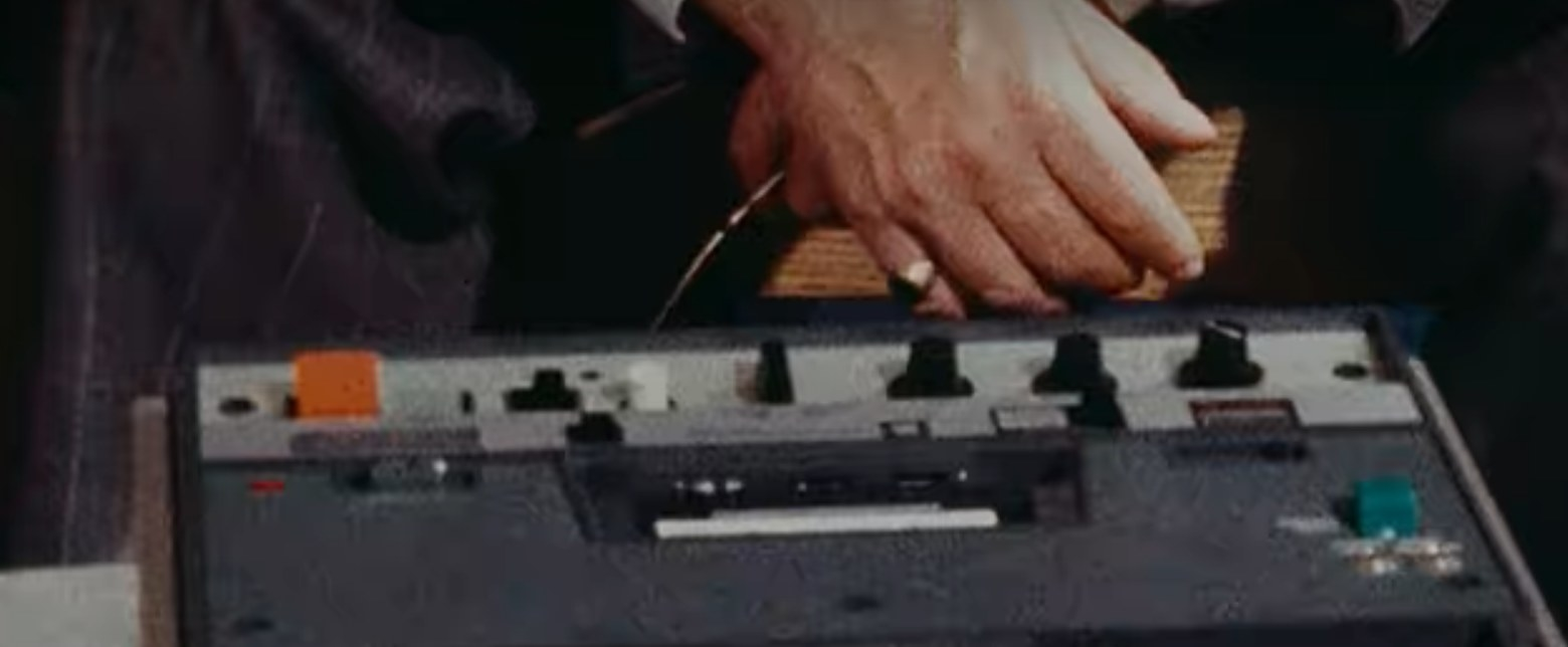 Close up of a tape playing machine.