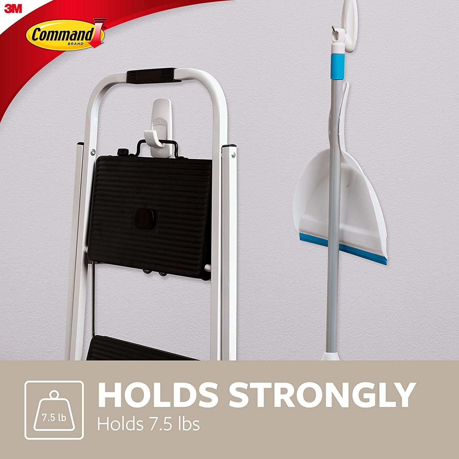 the hook on a wall holding up a two-tier stepstool