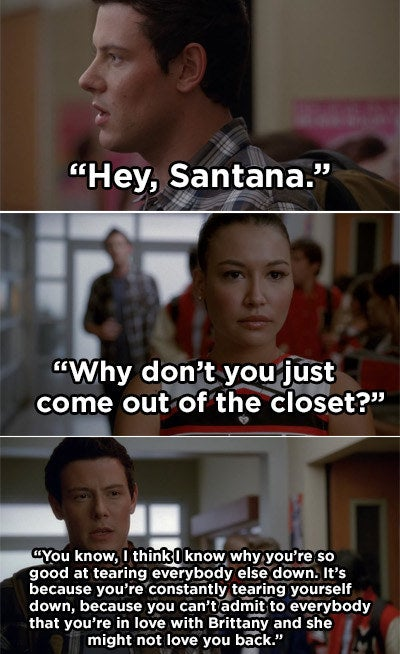 Finn outing Santana in the hallway