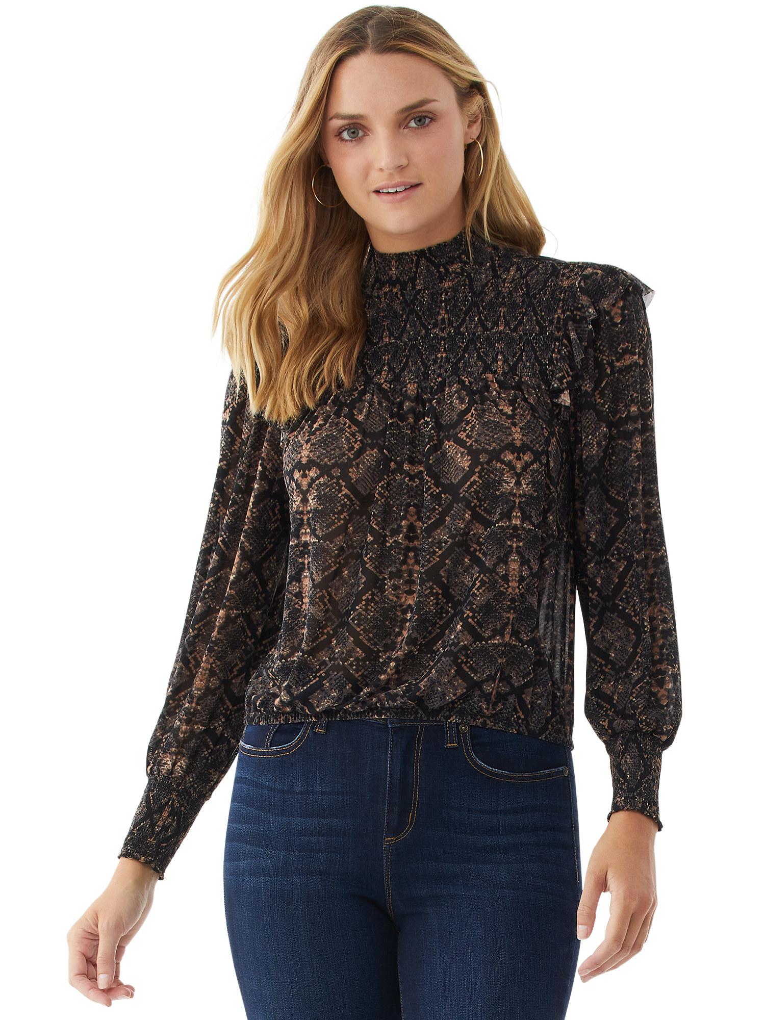 model wearing brown snakeskin print top