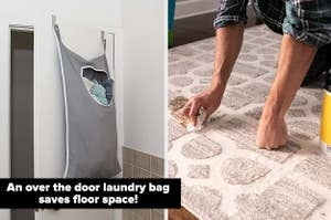 left image: over the door laundry bag, right image: floor cleaning wipes