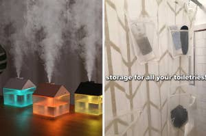 split thumbnail of house-shaped humidifier, storage pocket shower curtain liner with toiletries in it