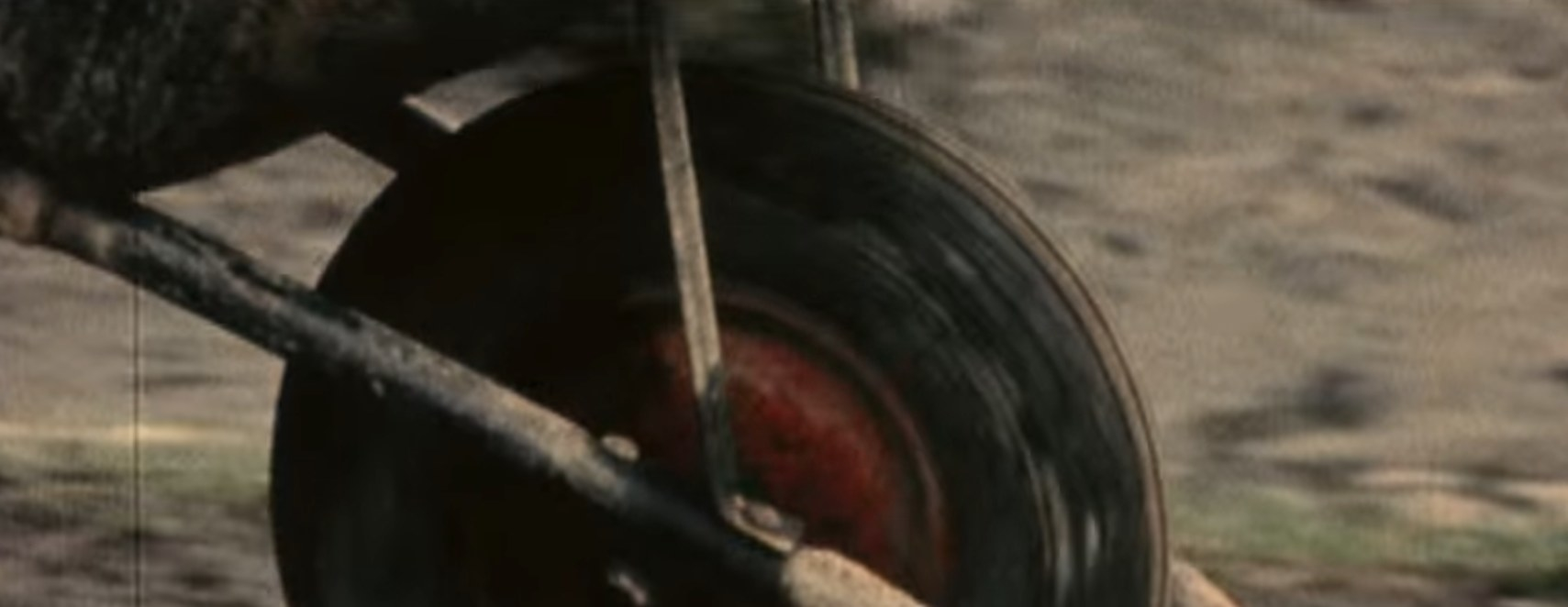 Wheel of a wheelbarrow.